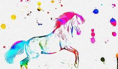 Colorful Horse Paint Splatter Poster