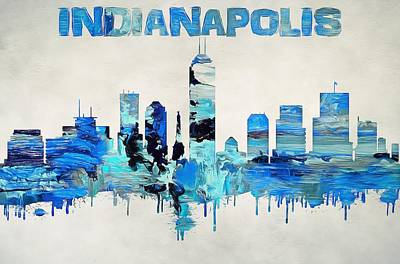 Colorful Indianapolis Skyline Silhouette Poster by Dan Sproul