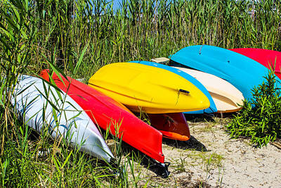 Colorful Kayaks Poster by Colleen Kammerer