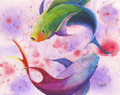 Poster featuring the painting Colorful Koi by Darice Machel McGuire