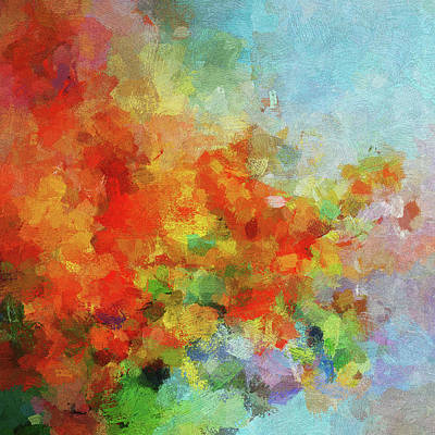 Poster featuring the painting Colorful Landscape Art In Abstract Style by Ayse Deniz