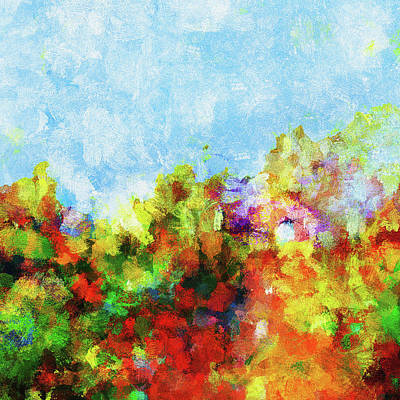 Poster featuring the painting Colorful Landscape Painting In Abstract Style by Ayse Deniz