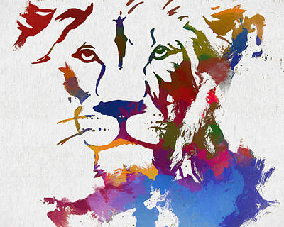Colorful Lion Face Poster by Dan Sproul