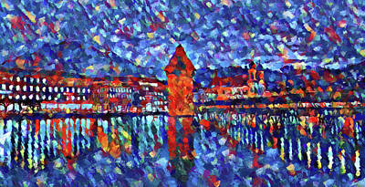 Colorful Lucerne Skyline Poster by Dan Sproul