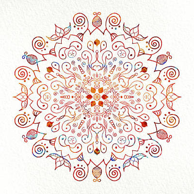 Colorful Mandala On Watercolor Paper Poster by Patricia Lintner