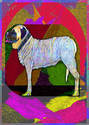 Poster featuring the drawing Colorful Mastiff by Michelle Audas