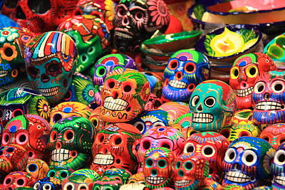 Colorful Mexican Day Of The Dean Ceramic Skulls Poster