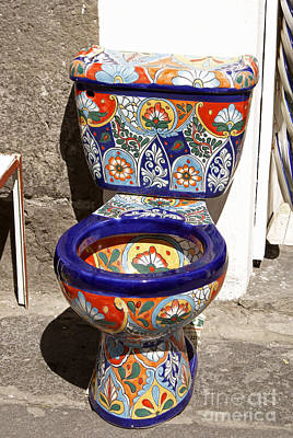 Colorful Mexican Toilet Puebla Mexico Poster by John  Mitchell