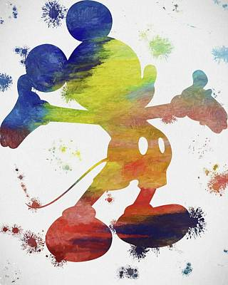 Colorful Mickey Mouse Paint Splatter Poster by Dan Sproul