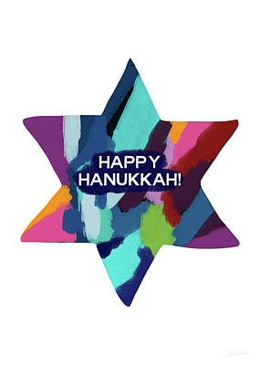 Colorful Modern Hanukkah- Art By Linda Woods Poster