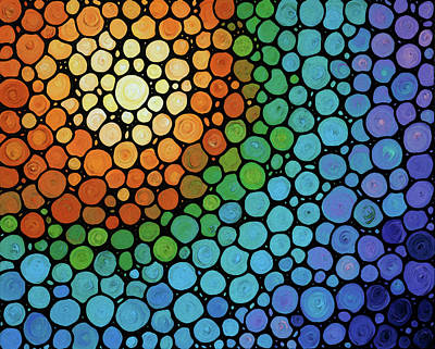 Colorful Mosaic Art - Blissful Poster by Sharon Cummings