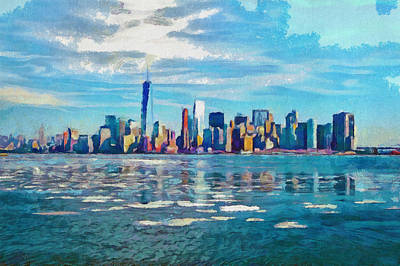 Colorful New York Skyline Painting Poster by Wall Art Prints
