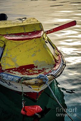 Colorful Old Red And Yellow Boat During Golden Hour In Croatia Poster