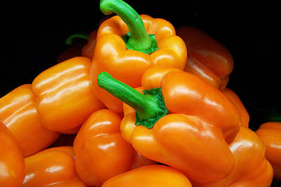 Colorful Orange Bell Peppers Poster by Kathy Clark