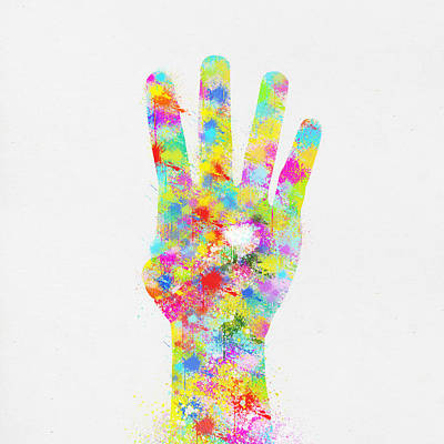 Colorful Painting Of Hand Pointing Four Finger Poster by Setsiri Silapasuwanchai