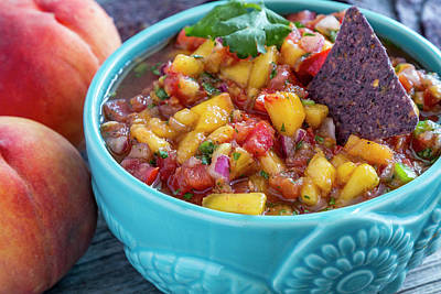 Colorful Peach Salsa Poster by Teri Virbickis