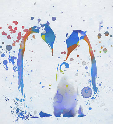 Poster featuring the painting Colorful Penguin Family by Dan Sproul