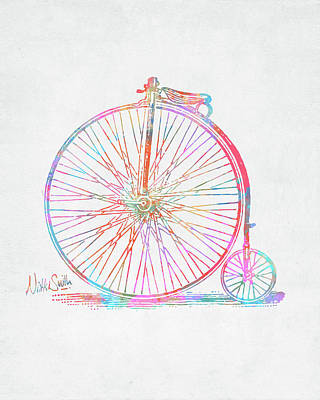 Colorful Penny-farthing 1867 High Wheeler Bicycle Poster