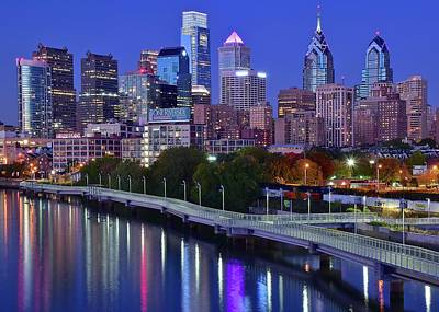 Poster featuring the photograph Colorful Philly Night Lights by Frozen in Time Fine Art Photography