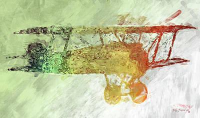 Colorful Plane Art Poster by Ken Figurski
