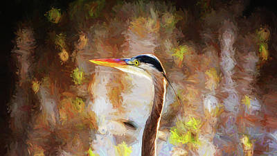 Colorful Portrait Of Great Blue Poster by Scott Pellegrin