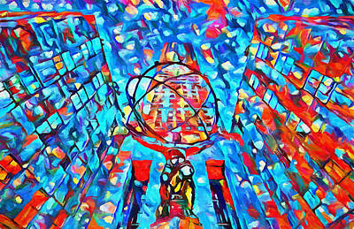 Poster featuring the painting Colorful Rockefeller Center Atlas by Dan Sproul