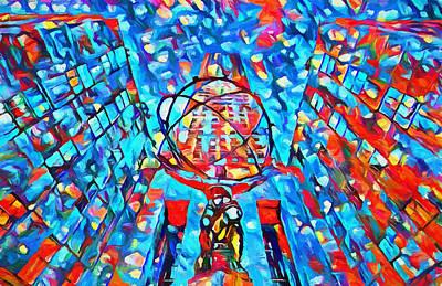Colorful Rockefeller Center Atlas Poster by Dan Sproul
