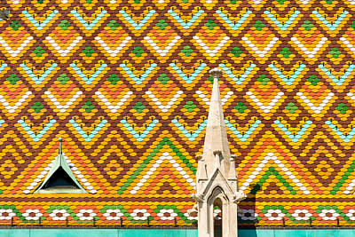 Colorful Roof With Zsolnay Ceramics Matthias Church Budapest  Poster