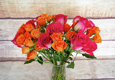 Colorful Rose Bouquet Poster