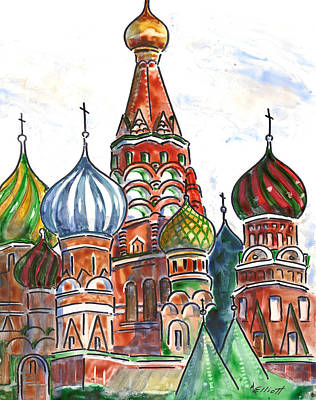 Colorful Shapes In A Red Square Poster by Marsha Elliott