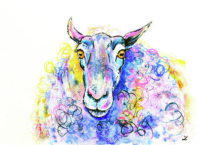 Poster featuring the painting Colorful Sheep by Zaira Dzhaubaeva