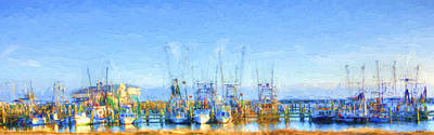 Colorful Shrimp Boat Harbor Pass Christian Ms Poster