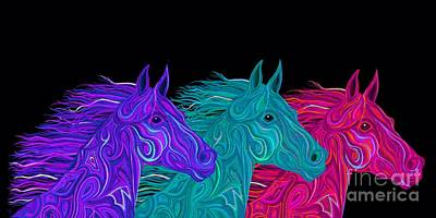 Poster featuring the drawing Colorful Stallions  by Nick Gustafson