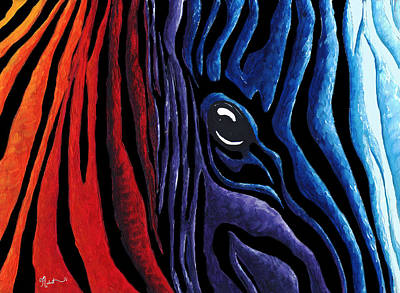Colorful Stripes Original Zebra Painting By Madart In Black Poster by Megan Duncanson