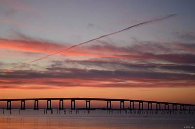 Colorful Sunrise Over Navarre Beach Bridge Poster