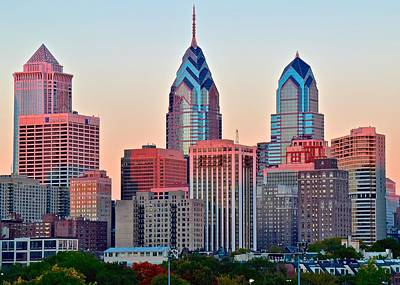 Colorful Sunset In Philadelphia Poster by Frozen in Time Fine Art Photography