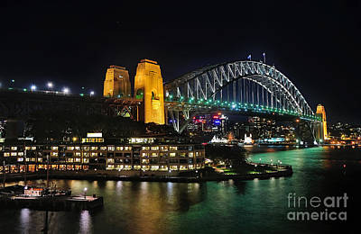 Colorful Sydney Harbour Bridge By Night 2 Poster by Kaye Menner
