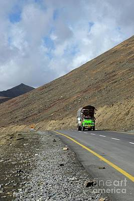 Colorful Truck On Karakoram Highway Amid Mountains Babusar Pass Pakistan Poster by Imran Ahmed