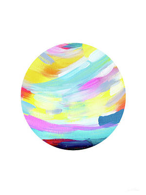 Colorful Uprise 4 Circle- Art By Linda Woods Poster by Linda Woods