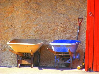 Poster featuring the photograph Colorful Wheelbarrows by Margie Avellino