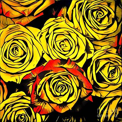 Colorful Yellow And Red Roses Poster by Amy Cicconi