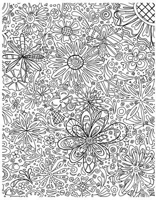 Coloring Page With Beautiful In The Garden 6 Drawing By Megan Duncanson Poster