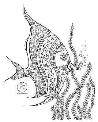 Coloring Page With Beautiful Tropical Fish 2 Drawing By Megan Duncanson Poster
