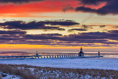 Colors After Sunset In St Joseph Poster by Jackie Novak