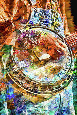 Colors Of A Banjo Busker Poster by John Haldane