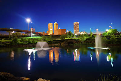 Poster featuring the photograph Colors Of Night Tulsa Oklahoma Downtown City Skyline by Gregory Ballos