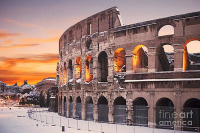 Colosseum Covered In Snow At Sunset Poster