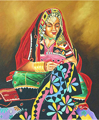 Poster featuring the painting Colour Of Rajasthan by Ragunath Venkatraman