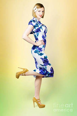 Colourful A Blond Retro Pinup Girl In High Heels Poster