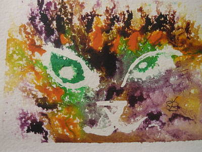 Poster featuring the drawing Colourful Cat Face by AJ Brown